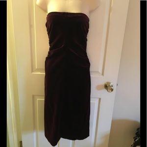 THEORY* BURGUNDY STRETCH VELVET DRESS 8